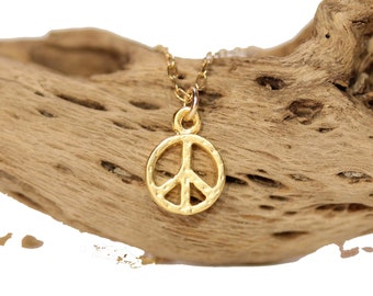 Dainty gold peace sign necklace, peace symbol jewelry, best friends gift, layering necklace, simple everyday necklace