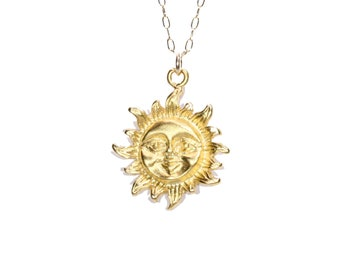Sun necklace, smiling sunshine necklace, gold sun pendant, you are my sunshine, celestial, a gold vermeil sun on a 14k gold filled chain