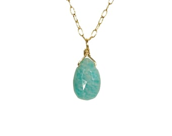 Amazonite necklace, healing crystal necklace, mint green gemstone necklace, august birthstone, everyday necklace, 14k gold filled chain