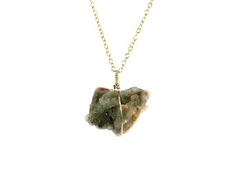 Chrome Chalcedony necklace - raw crystal necklace - druzy necklace - mtorolite necklace