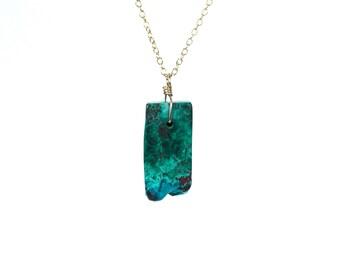 Malachite necklace - chrysocolla necklace - mineral necklace - rectangle necklace - healing necklace - geometric necklace - ML4