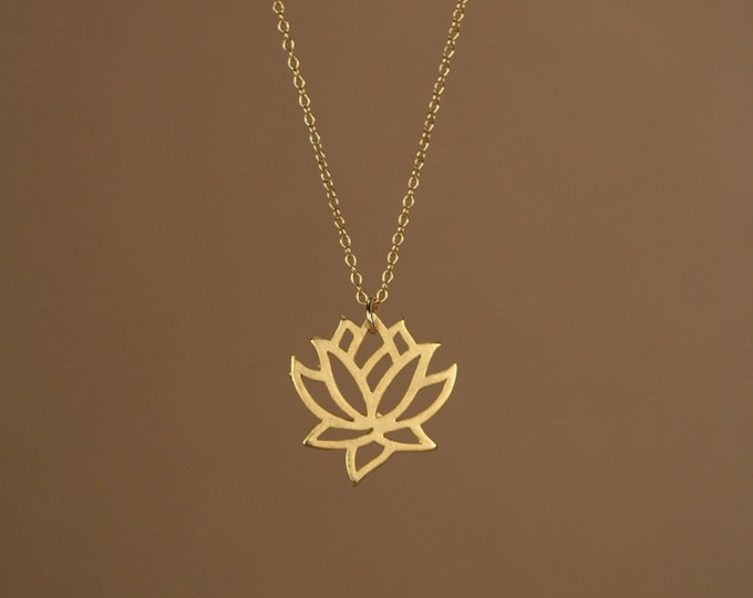 Featured listing image: Lotus necklace,  gold lotus flower, yoga necklace, blooming flower jewelry, a little 14k gold vermeil lotus flower on 14k gold filled chain