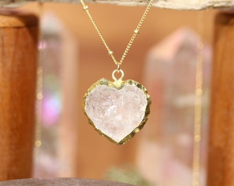 Quartz heart necklace - raw crystal necklace - crystal heart - heart charm - healing crystal jewelry