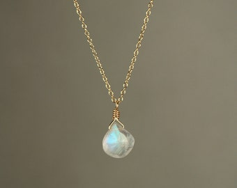 Moonstone necklace - rainbow moonstone necklace - dainty and delicate -  A tiny teardrop moostone on a 14k gold vermeil chain