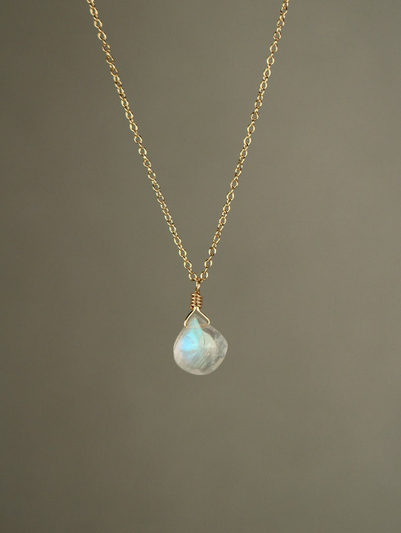 Moonstone necklace  rainbow moonstone necklace  dainty and image 0