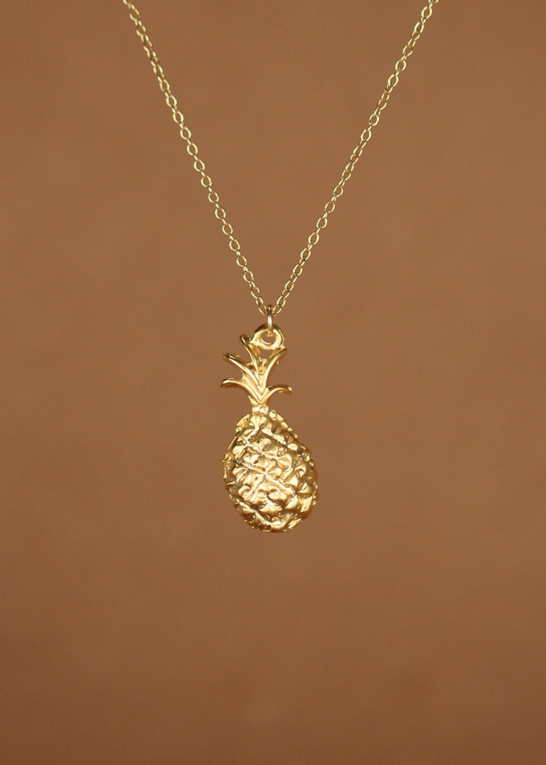 gold pineapple necklace Pineapple necklace tropical necklace a sweet little gold pineapple on a 14k gold vermeil chain fruit jewelry