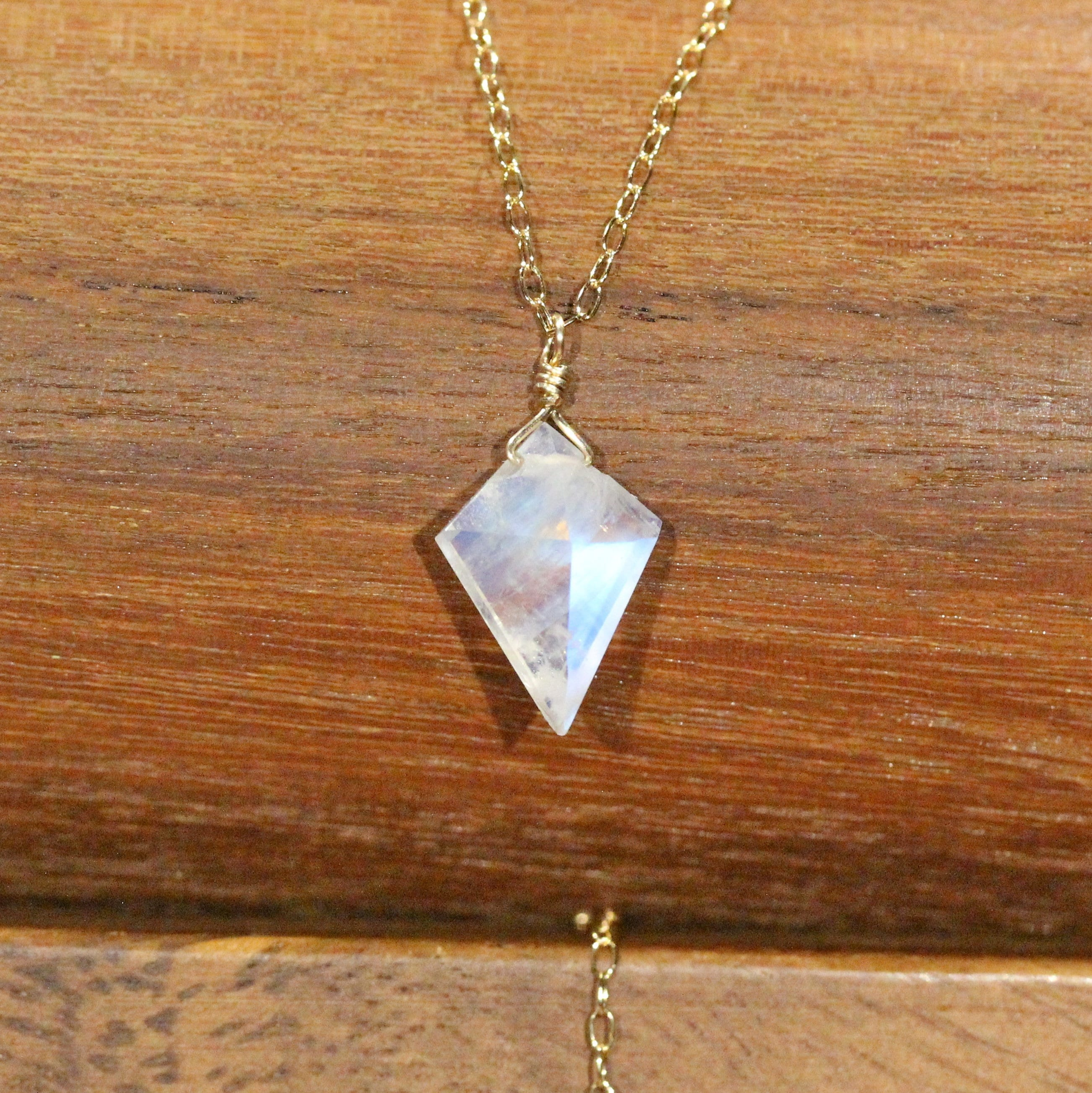 BS19-0113 Rainbow Moonstone Necklace Sterling Silver Rainbow Moonstone Teardrop Pendant Necklace June Birthstone Necklace