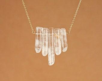 Crystal bib necklace - quartz necklace - healing crystal necklace - a row of 5 polished quartz crystal wands on 14k gold vermeil chain