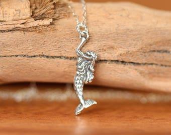 Silver mermaid necklace, sea princess, beach necklace, summer jewelry