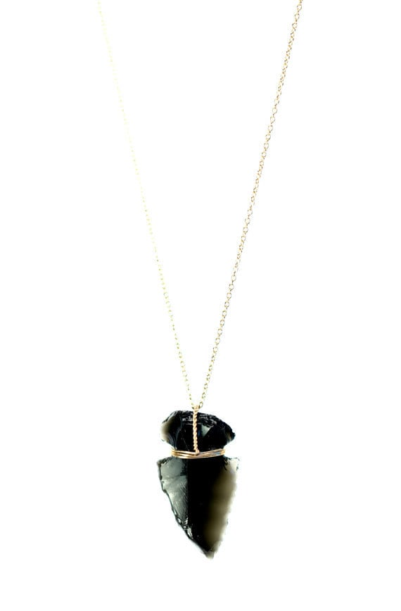 Arrowhead necklace, black obsidian necklace, chevron necklace, tribal jewelry, a black arrowhead on 14k gold filled or sterling silver chain