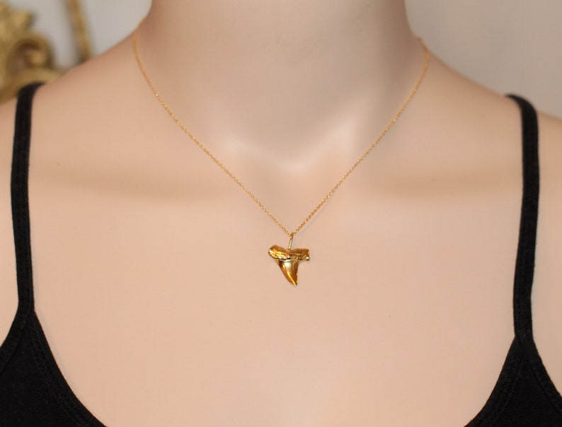 Gold shark tooth necklace surfers necklace beach jewelry image 0