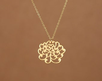 Lotus necklace - gold lotus - flower necklace - yoga necklace - peony flower- a 22k gold or sterling silver lotus flower necklace