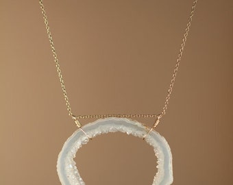 Crystal necklace - geode necklace - raw crystal necklace - an earth tone geode druzy wire wrapped to a 14k gold vermeil chain
