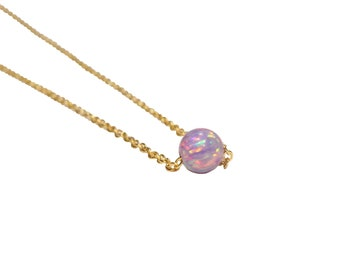 Tiny opal dot necklace, purple opal necklace, little opal bead necklace, everyday necklace, 14k gold filled or sterling silver chain