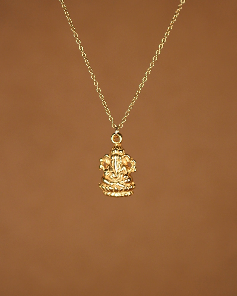 0414f5ed39de4 Ganesha necklace - gold ganesha - indian god - ganesh - yoga necklace - a  22k gold plated sterling silver ganesha on 14k gold vermeil chain