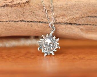 Silver sun necklace - sunshine necklace - you are my sunshine - a sterling silver smiling sun on a sterling silver chain - SML