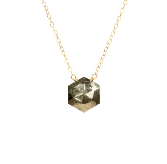 Pyrite necklace, hexagon necklace, mineral necklace, healing stone jewelry, fools gold, a faceted pyrite on a 14k gold filled chain