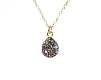 Rainbow druzy necklace - raw crystal necklace - titanium teardrop