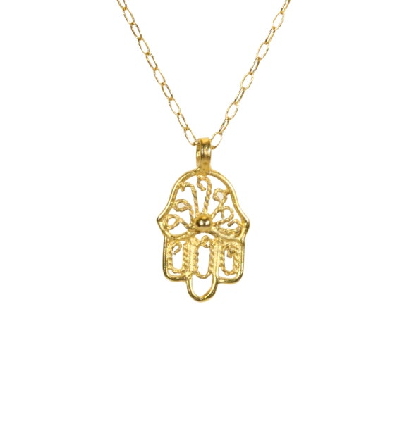 Hamsa necklace, gold hamsa charm, hand of god, amulet necklace, good luck necklace, a dainty gold Hamsa on a 14k gold filled chain