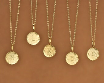 Gold letter necklace - initial necklace - alphabet necklace - name necklace - a stamped letter gold disc on a 14k gold filled chain