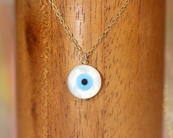 Evil eye necklace, amulet necklace, nazar necklace, maloccio pendant, energy protection, blue eye necklace, 14k gold filled chain