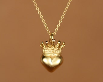 Crown necklace, queen of my heart, gold heart and crown necklace, gold heart pendant, a 14k gold vermeil heart on a 14k gold filled chain