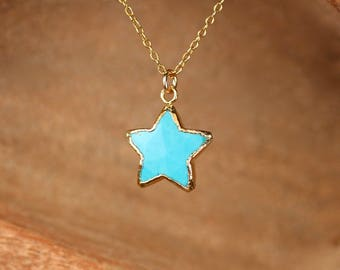 Turquoise star necklace, aqua star necklace, gold star pendant, friendship necklace, gold filled jewelry, layering necklace, boho necklace