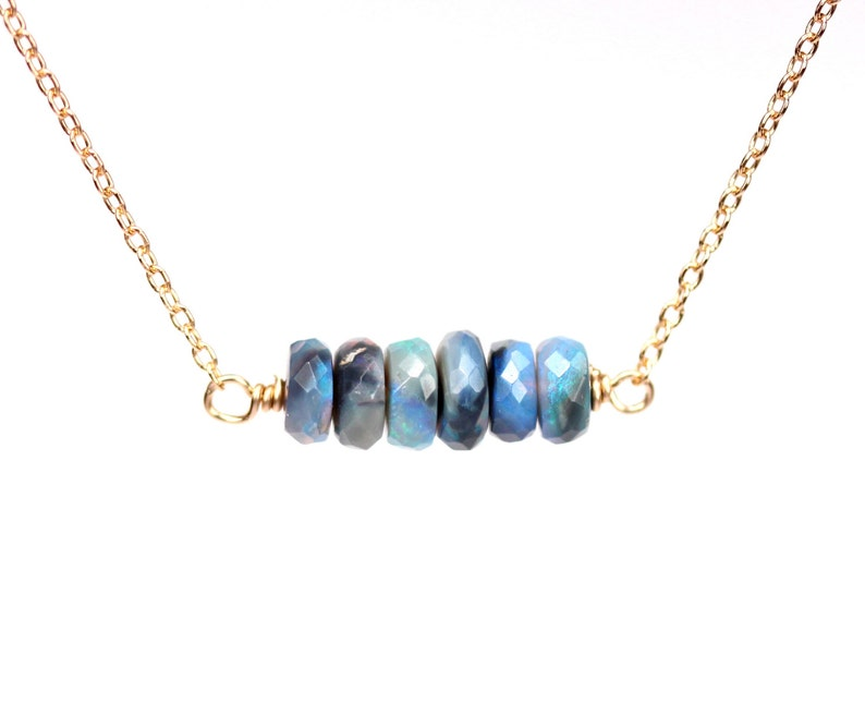 Black opal necklace  precious opal necklace  lightning ridge image 0