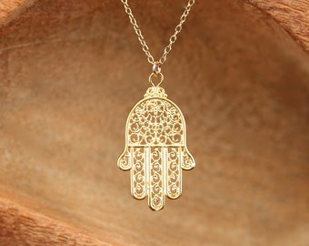 Hamsa necklace - gold hamsa charm - hand of god - amulet necklace - 14k gold filled chain