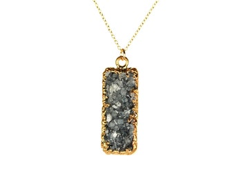 Bar necklace - druzy jewelry - raw crystal necklace - a gold lined black druzy on a 14k gold vermeil chain