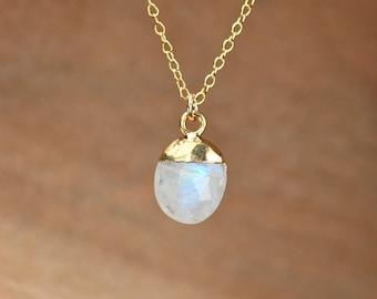 Moonstone necklace - june birthstone necklace - drop crystal necklace - rainbow crystal necklace - blue flash