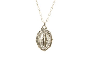 Virgin Mary medallion necklace, miraculous medal necklace, catholic, protection, a sterling silver mother of god on a sterling silver chain