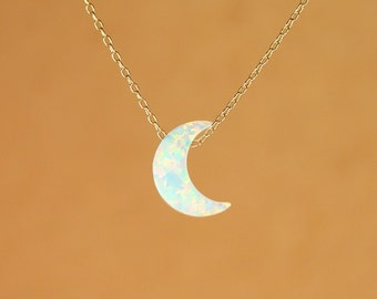 Moon necklace - opal moon necklace - crescent moon necklace - a half moon hanging from a 14k gold vermeil or sterling silver chain