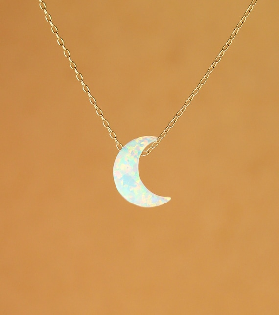 Opalite Glass Crescent Moon Beaded Chain Necklace