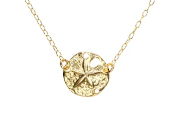 Sand dollar necklace, gold sea star pendant, beach necklace, dainty everyday necklace, 14k gold filled necklace