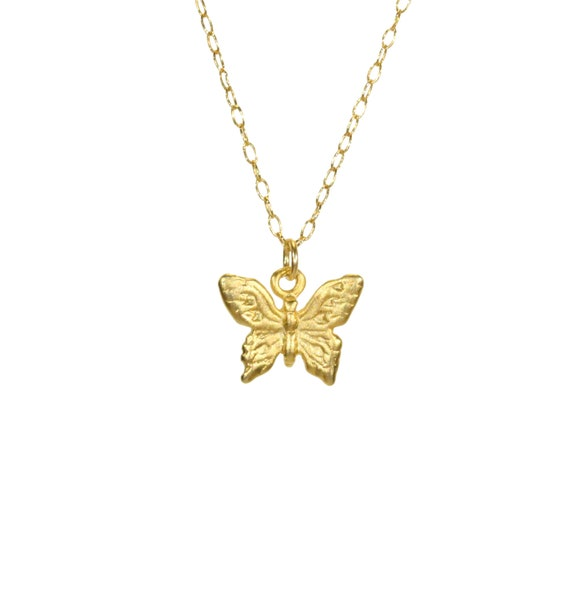 Butterfly necklace, gold butterfly pendant, whimsical necklace, fairytale jewelry, gift for her, bff gift, dainty 14k gold filled necklace