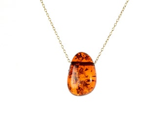 Amber necklace - healing necklace - baltic amber necklace - fossil - a wire wrapped genuine baltic amber drop on a 14k gold vermeil chain