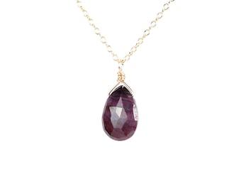 Sugilite necklace - purple stone necklace - cyclosilicate necklace - a drop of purple sugilite wire wrapped onto a 14k gold vermeil chain