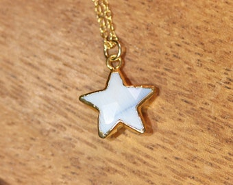 Star necklace - african opal star necklace - opal necklace - crystal star necklace - blue star necklace