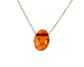 Amber necklace - baltic amber - healing amber necklace - fossil - a drop of baltic amber hanging from a 14k gold vermeil chain