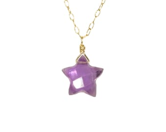 Amethyst star necklace, crystal star pendant, purple star jewelry, February birthstone, healing crystal, celestial necklace, 14k gold filled