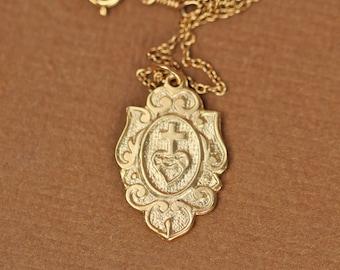 Sacred heart necklace - religous necklace - virgin mary - cross necklace - a 22k gold vermeil catholic crest on a 14k gold vermeil chain