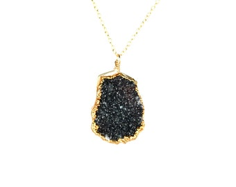 Druzy necklace - crystal necklace - rough crystal -  raw crystal necklace - A gold lined jet black druzy on a 14k gold vermeil chain