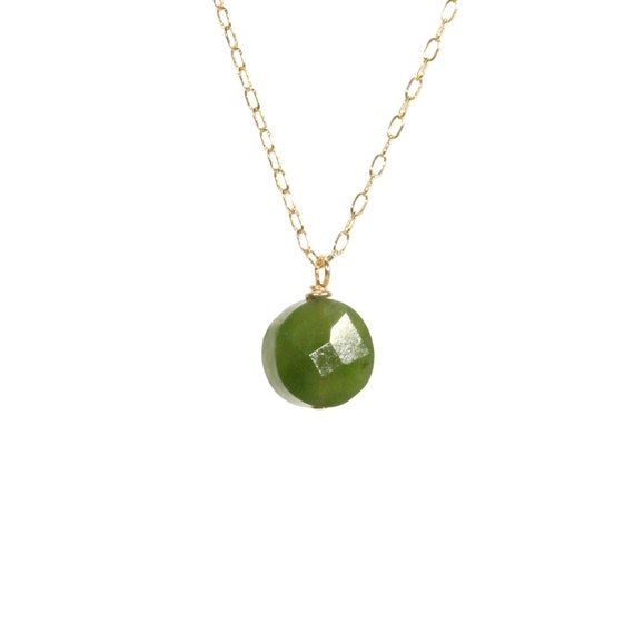 Jade necklace, dot necklace, healing stone green pendant, dainty gold necklace, a round Canadian jade on a 14k gold filled chain