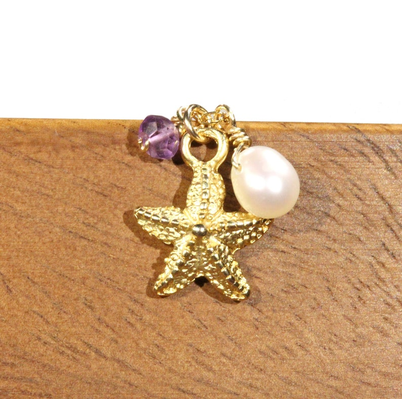 14k gold filled chain Starfish and pearl necklace ocean lover gold sea star pendant surfer amethyst necklace tropical beach necklace