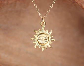 Smiling sun necklace - you are my sunshine - sunshine necklace - gold sun - a gold vermeil sun pendant on a 14k gold vermeil chain - MD