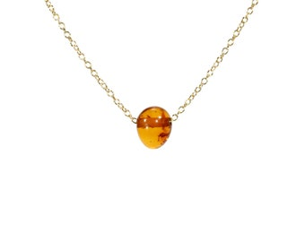 Amber necklace, healing necklace, baltic amber necklace, fossil, a tiny drop of genuine baltic amber drop on a 14k gold filled chain -36