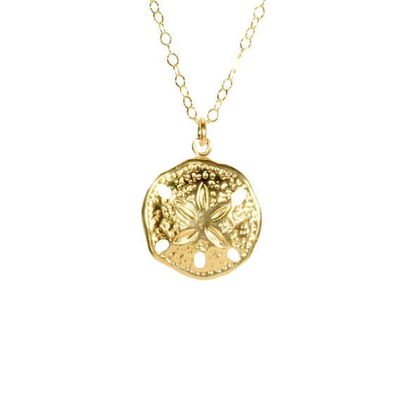 Gold sand dollar necklace, delicate necklace, beach jewelry, surfer necklace, a14k gold filled gold sand dollar on a 14k gold filled chain