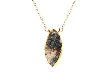 Diamond druzy necklace - raw crystal necklace - geode necklace - a gold bezel set black druzy wire wrapped onto a 14k gold vermeil chain