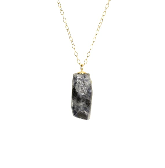 Raw sapphire necklace, raw crystal pendant, blue sapphire, healing crystal, September birthstone, 14k gold filled or sterling silver chain